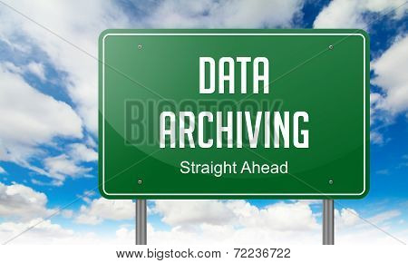 Data Archiving on Green Highway Signpost.