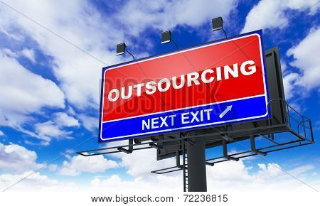 Outsourcing  Inscription on Red Billboard.