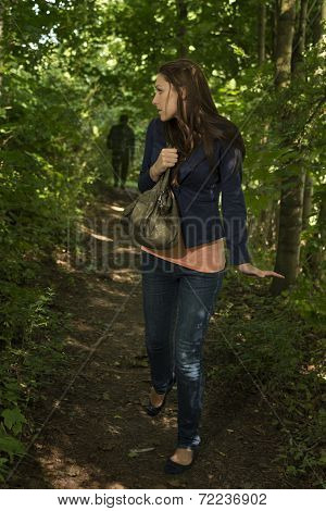 Paranoid Woman In Forest