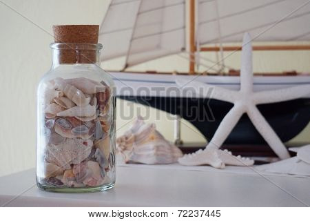 Sea shells with boat and shell background