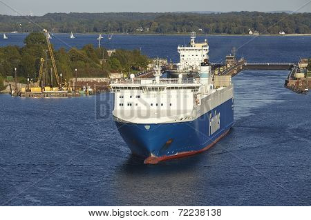 Kiel - Ro-ro Cargo Ship At Kiel Canal