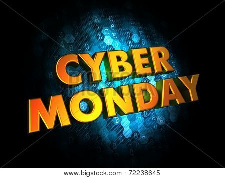 Cyber Monday  - Gold 3D Words.