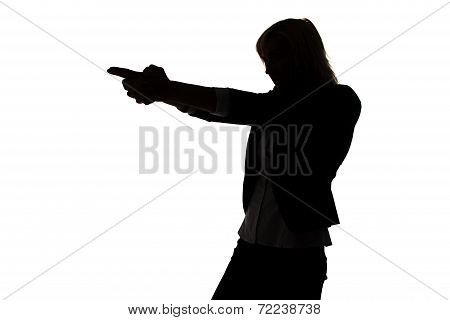 Silhouette of secret agent woman