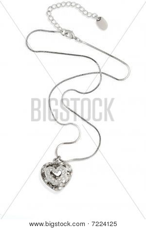 Heart necklace.  Isolated on white.