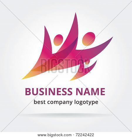 Abstract symbol logotype isolated on dark background.