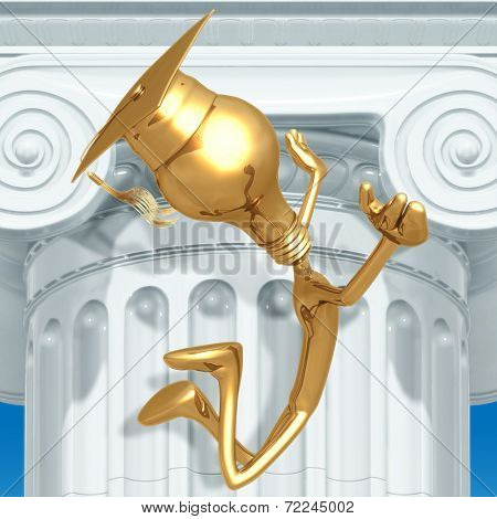 Smart Golden Grad Jumping For Joy Graduation Concept