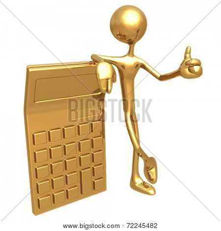 Accountant With Giant Golden Calculator Giving Thumbs Up Gesture