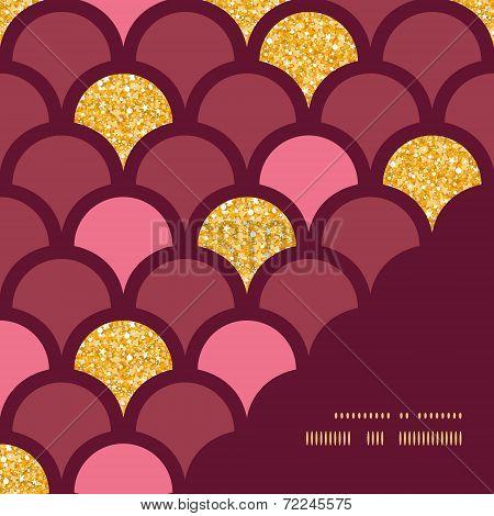 Gold glitter fish scale frame corner pattern background