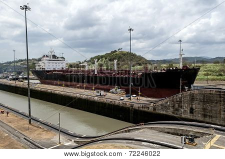 Ship At The Panama Canal.