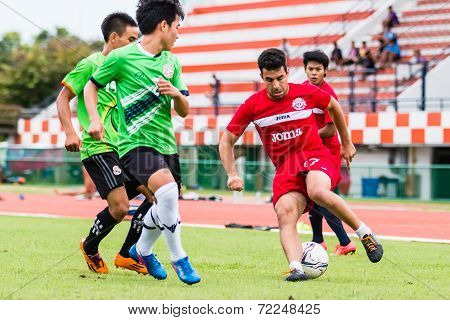 Sisaket Thailand-september 17: Gorka Unda Of Sisaket Fc. In Action During Unofficial Friendly Match