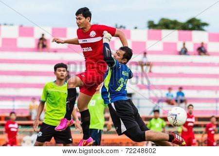Sisaket Thailand-september 17: Unidentified Goalkeeper Of Sisaket Utd. In Action During Unofficial F