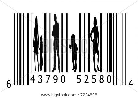 Bar code and people silhouettes