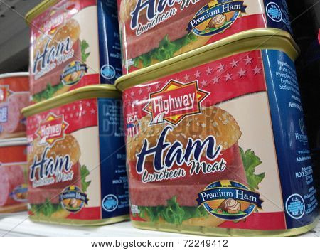 Highway Ham luncheon meat cans