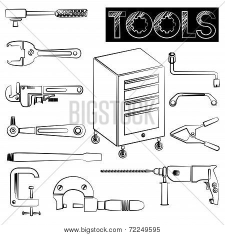 tools icons, sketch design