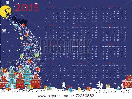 New year 2015 calendar. Santa  coming to City