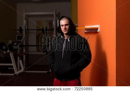 Muscular Young Caucasian Handsome Man With Hoodie