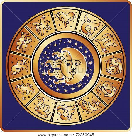 Horoscope zodiac sign circle with moon,sun