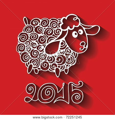 2015 Year.Cartoon outline curly sheep with long shadow