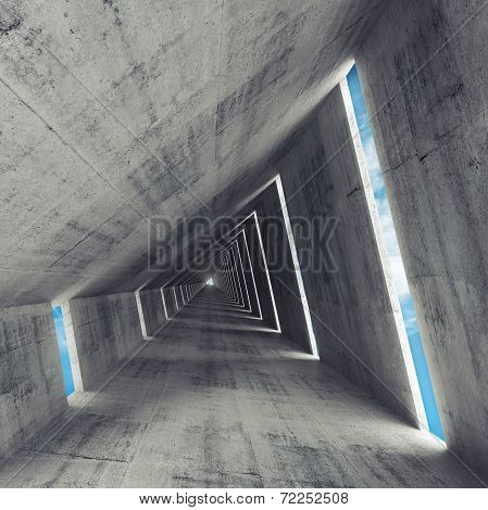 Abstract Empty Gray Concrete Interior, 3D Render Of Tunnel