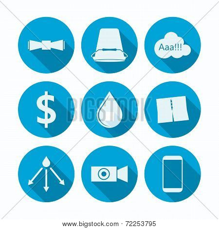 Flat vector icons for Ice Bucket Challenge