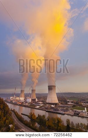 Nuclear Power Station At Sunset