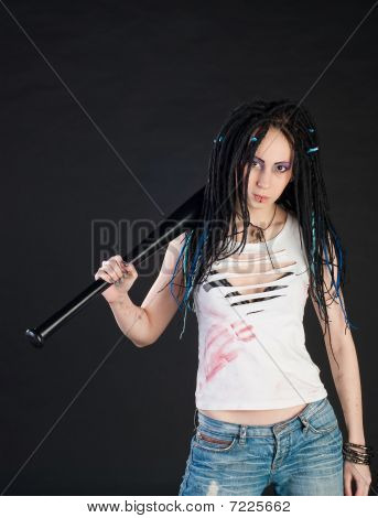 Girl With Baseball Bat