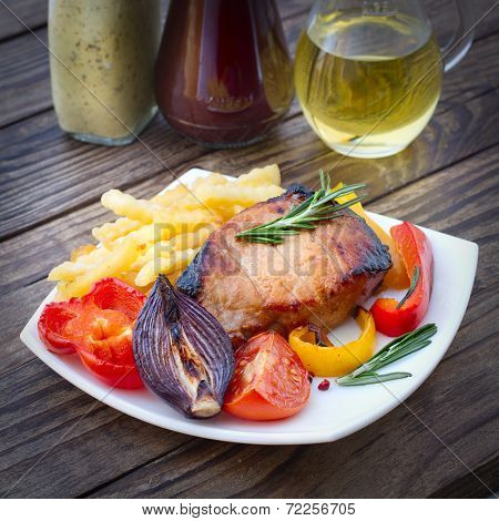 Food. Meat Barbecue With Vegetables On Wooden Surface.