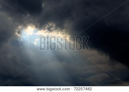 Sun Beams In Dark Clouds And Sky