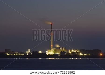 Bremerhaven (germany) - Waste Incinerating Plant At Night