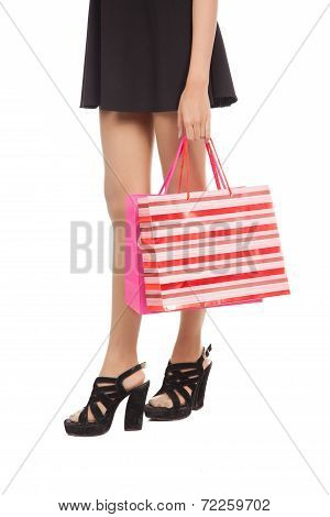 Woman Legs On High Heels  With Shopping Bags