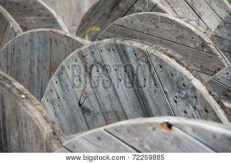 Industrial landscape. Coil for electric cable.