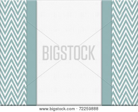 Blue And White Chevron Zigzag Frame With Ribbon Background