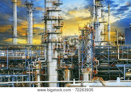 Close Up Exterior Strong Metal Structure Of Oil Refinery Plant In Heavy Industry Estate Site