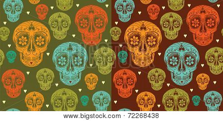 Vector Seamless Pattern With Sugar Skull