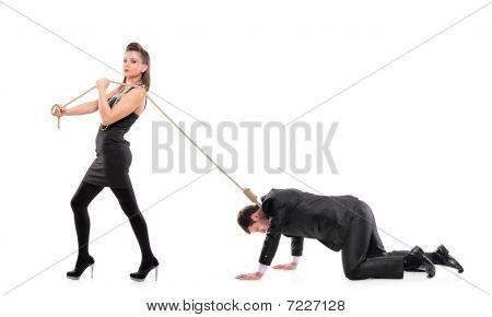 A woman torturing her boyfriend