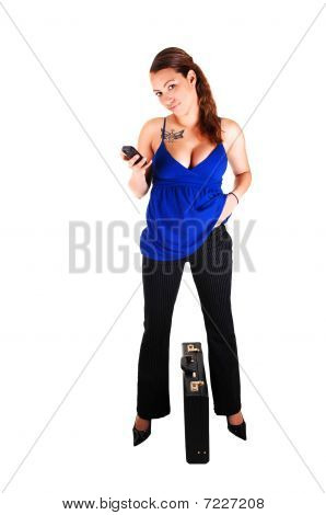 Business Woman Dialing On Cell Phone.