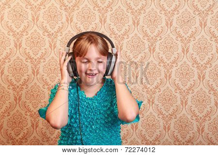 Grade School Girl With  Retro Headphones