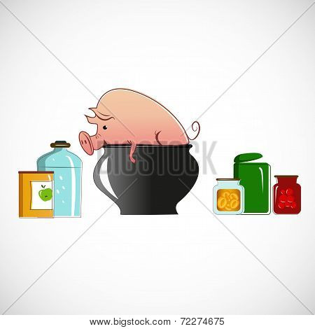 Pig in a pot on light background