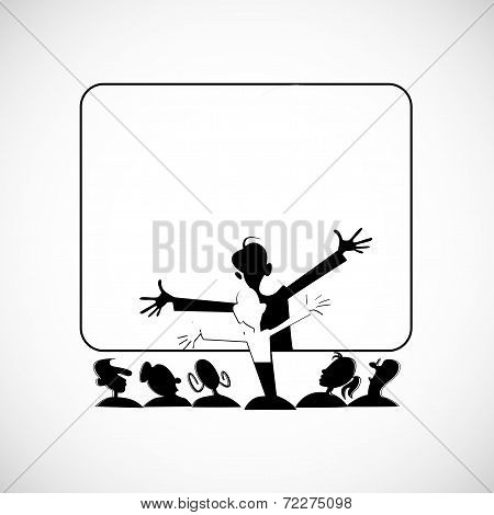 Screening of the reaction audience. Vector sketch