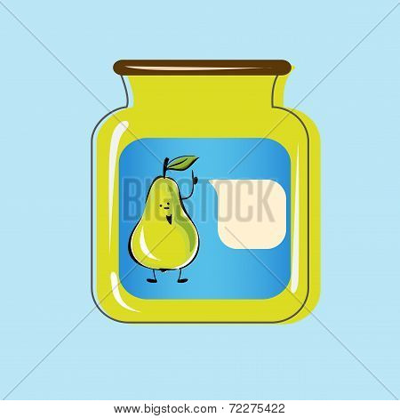 Bank with home canned pears. Vector design
