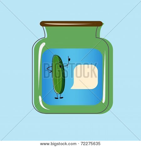 Bank with home canned pickles. Vector design