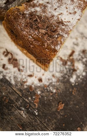 piece of cake sprinkled with caster sugar