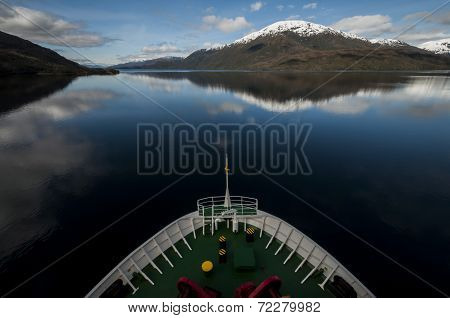 Ship Sailing In The Chilean Fiords