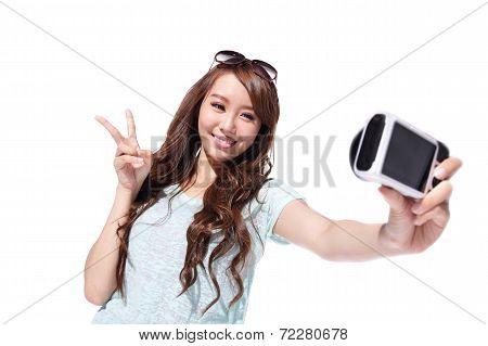 Happy Travel Young Girl Selfie