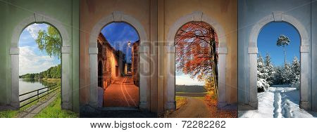 Collage Four Seasons - Lakeside, Nightly Alley, Autumnal Country Road, Wintry Footpath In The Forest