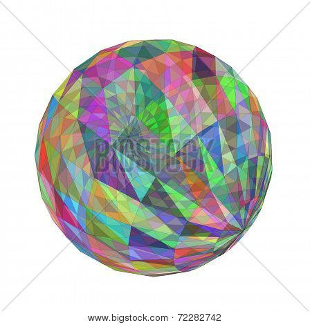 3D multicolored transparent geometric sphere