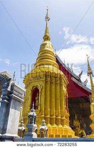 Pagoda With Chapel In Thailand