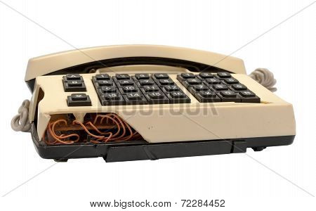 Telephone Collection - Crashed Phone On White Background