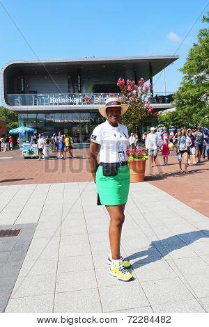 US Open Ambassador welcomes visitors at Billie Jean King National Tennis Center