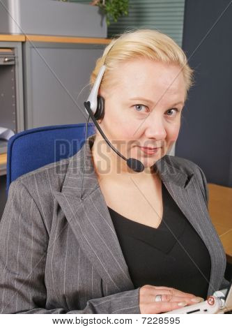 Female Receptionist With Headset